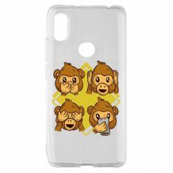 Чехол для Xiaomi Redmi S2 Monkey See Hear Talk
