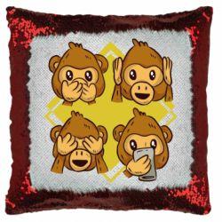 Подушка-хамелеон Monkey See Hear Talk