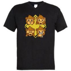 Мужская футболка  с V-образным вырезом Monkey See Hear Talk