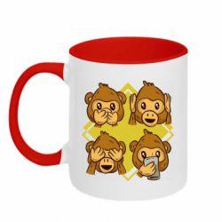 Кружка двухцветная 320ml Monkey See Hear Talk