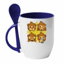 Кружка с керамической ложкой Monkey See Hear Talk