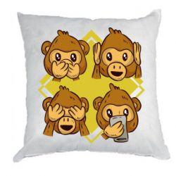 Подушка Monkey See Hear Talk