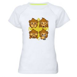 Женская спортивная футболка Monkey See Hear Talk