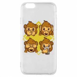 Чехол для iPhone 6/6S Monkey See Hear Talk