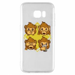 Чехол для Samsung S7 EDGE Monkey See Hear Talk