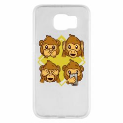 Чехол для Samsung S6 Monkey See Hear Talk