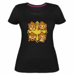 Женская стрейчевая футболка Monkey See Hear Talk
