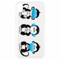 Чохол для iPhone XR Monkeys in medical masks