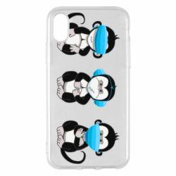 Чохол для iPhone X/Xs Monkeys in medical masks