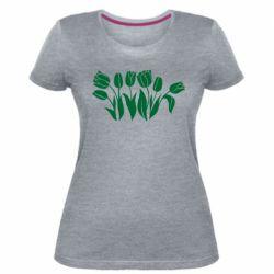 Жіноча стрейчева футболка Monochrome tulips