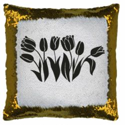 Подушка-хамелеон Monochrome tulips