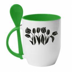 Кружка з керамічною ложкою Monochrome tulips