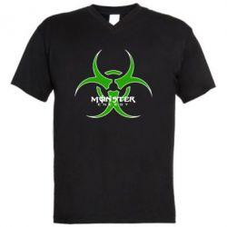 Мужская футболка  с V-образным вырезом Monster Energy Biohazard - FatLine