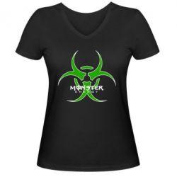 Женская футболка с V-образным вырезом Monster Energy Biohazard - FatLine