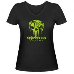 Женская футболка с V-образным вырезом Monster Energy Череп - FatLine