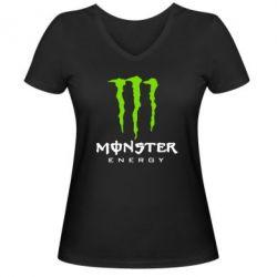 Женская футболка с V-образным вырезом Monster Energy Classic - FatLine