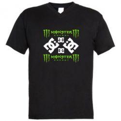 Мужская футболка  с V-образным вырезом Monster Energy DC Logo - FatLine