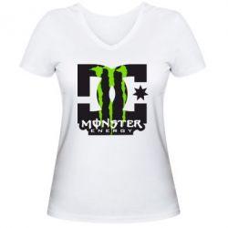 Женская футболка с V-образным вырезом Monster Energy DC - FatLine