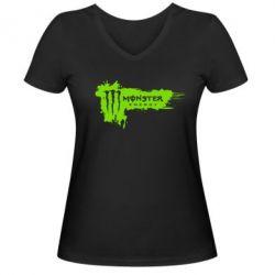 Женская футболка с V-образным вырезом Monster Energy Drink - FatLine