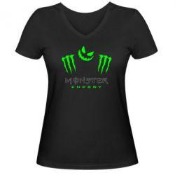 Женская футболка с V-образным вырезом Monster Energy Halloween - FatLine