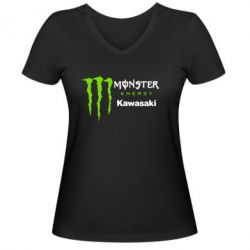 Женская футболка с V-образным вырезом Monster Energy Kawasaki - FatLine