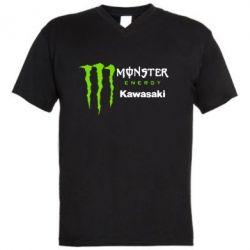 Мужская футболка  с V-образным вырезом Monster Energy Kawasaki - FatLine