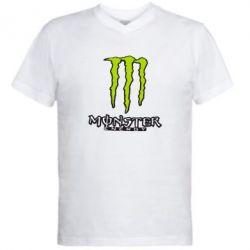 Мужская футболка  с V-образным вырезом Monster Energy Logo - FatLine