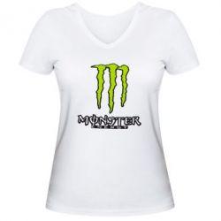 Женская футболка с V-образным вырезом Monster Energy Logo - FatLine