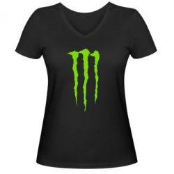 Женская футболка с V-образным вырезом Monster Energy Stripes 2 - FatLine