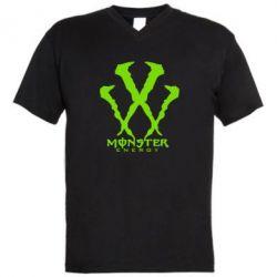 Мужская футболка  с V-образным вырезом Monster Energy W - FatLine