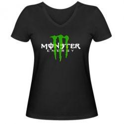 Женская футболка с V-образным вырезом Monter Energy Classic - FatLine