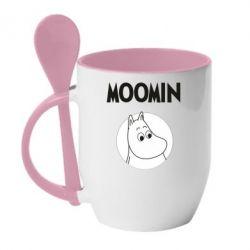Кружка з керамічною ложкою Moomin