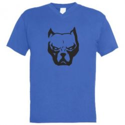 Мужская футболка  с V-образным вырезом Морда питбуль