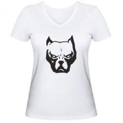 Женская футболка с V-образным вырезом Морда питбуль