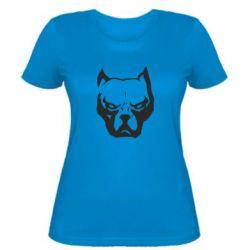 Женская футболка Морда питбуль