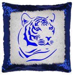 Подушка-хамелеон Морда тигра
