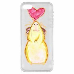 Чохол для iphone 5/5S/SE Морська свинка і сердечко
