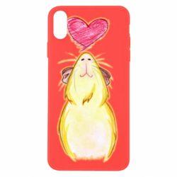 Чохол для iPhone X/Xs Морська свинка і сердечко