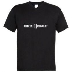 Мужская футболка  с V-образным вырезом Mortal kombat 11 logo