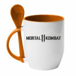 Кружка с керамической ложкой Mortal kombat 11 logo