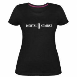 Женская стрейчевая футболка Mortal kombat 11 logo