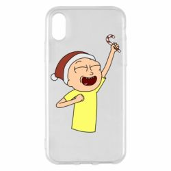 Чехол для iPhone X/Xs Morty with Christmas candy