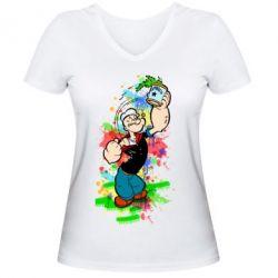 Купить Женская футболка с V-образным вырезом Моряк Папай Арт, FatLine
