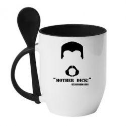 Кружка с керамической ложкой Mother Dick