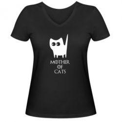 Женская футболка с V-образным вырезом Mother of cats