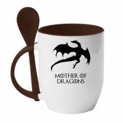 Кружка с керамической ложкой Mother of dragons 1