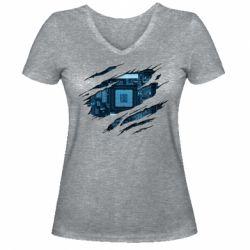 Жіноча футболка з V-подібним вирізом Motherboard through the T-Shirt