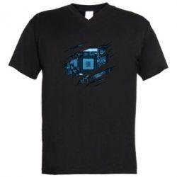 Чоловіча футболка з V-подібним вирізом Motherboard through the T-Shirt