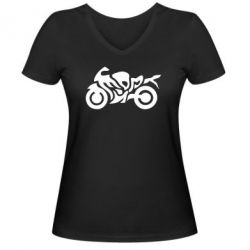 Женская футболка с V-образным вырезом MOTO SPORT - FatLine