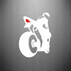 Наклейка Мотоциклист на спорте - FatLine
